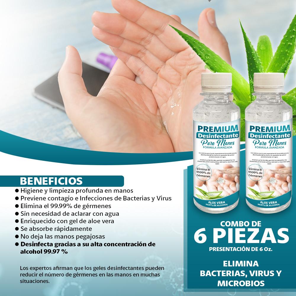 Gel Premium Desinfectante Para Manos 6 Piezas